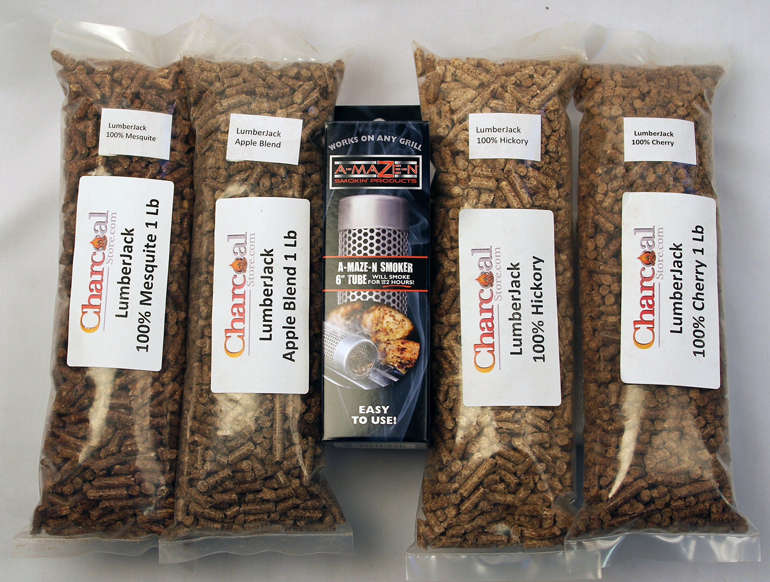A-MAZE-N Tube Smoker Combo Pack Includes 1 lb Each of Lumber Jack 100% Cherry, Hickory, Mesquite & 1 lb Apple Blend, 6'' H