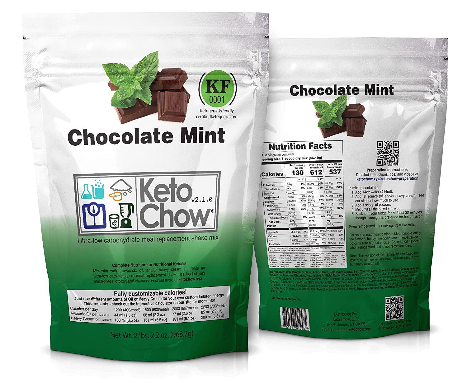 Keto Chow Keto Meal Replacement Shake: delicious, easy meals for keto diet, complete keto meal, on the run keto meal (Chocolate Mint, 21 Meals)