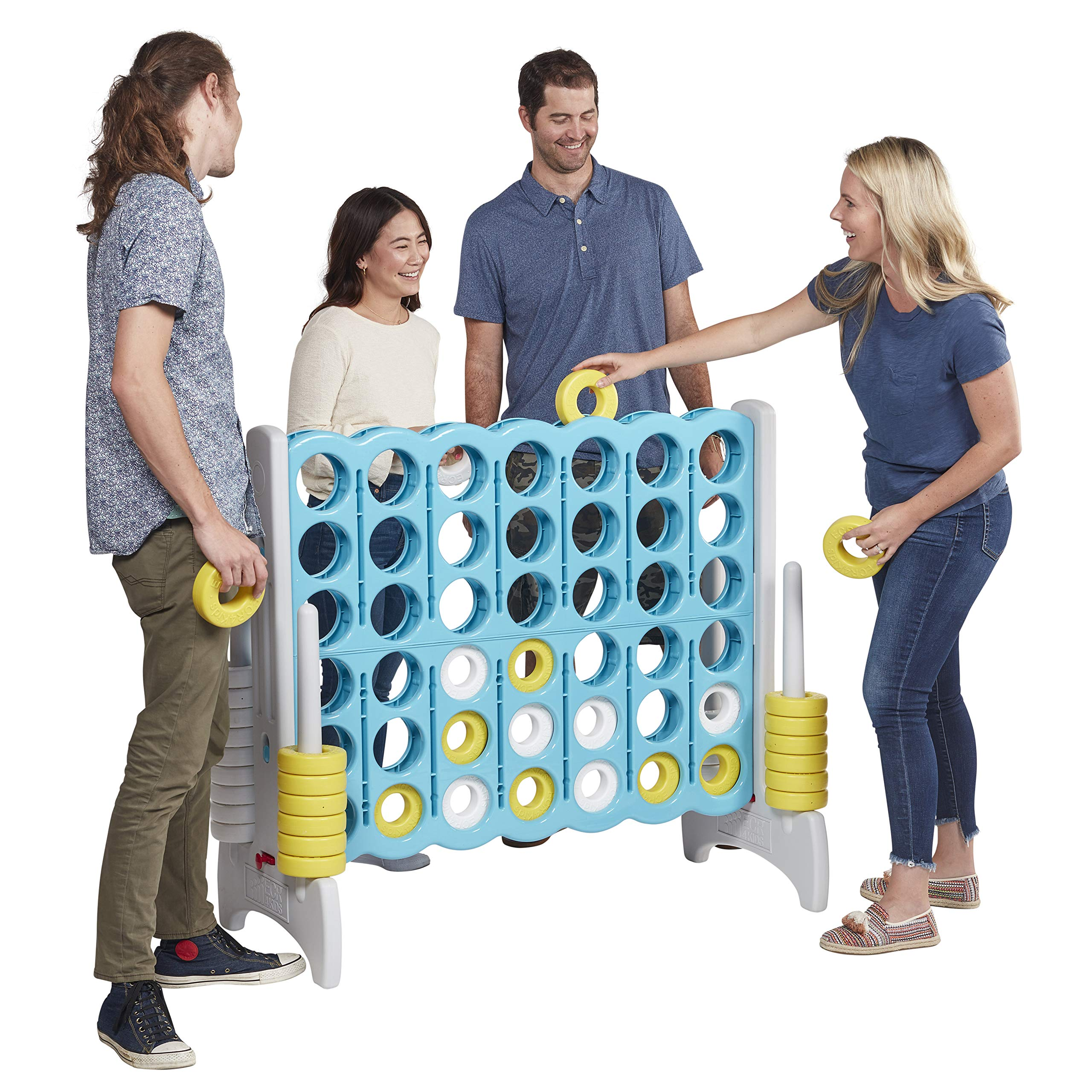 ECR4Kids Jumbo 4-to-Score Giant Game Set - Oversized 4-in-A-Row Fun for Kids, Adults and Families - Indoors/Outdoor Yard Play - 4 Feet Tall - Sky Blue