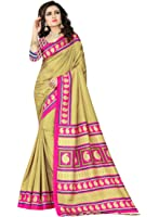 e-VASTRAM Womens Crepe Printed Art Silk Saree(V3105_Beige)
