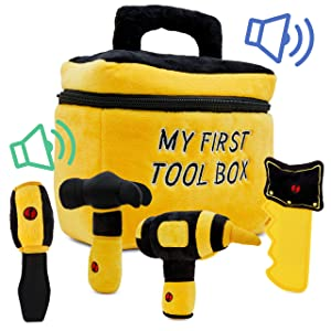 Toy Tool Set for Boys   Includes Cuddly Hammer, Handsaw, Screwdriver, Hand Drill, & Zippered Tool Box with Cool Sounds   Soft Plush Toys Made from Durable & Hypoallergenic Fabric