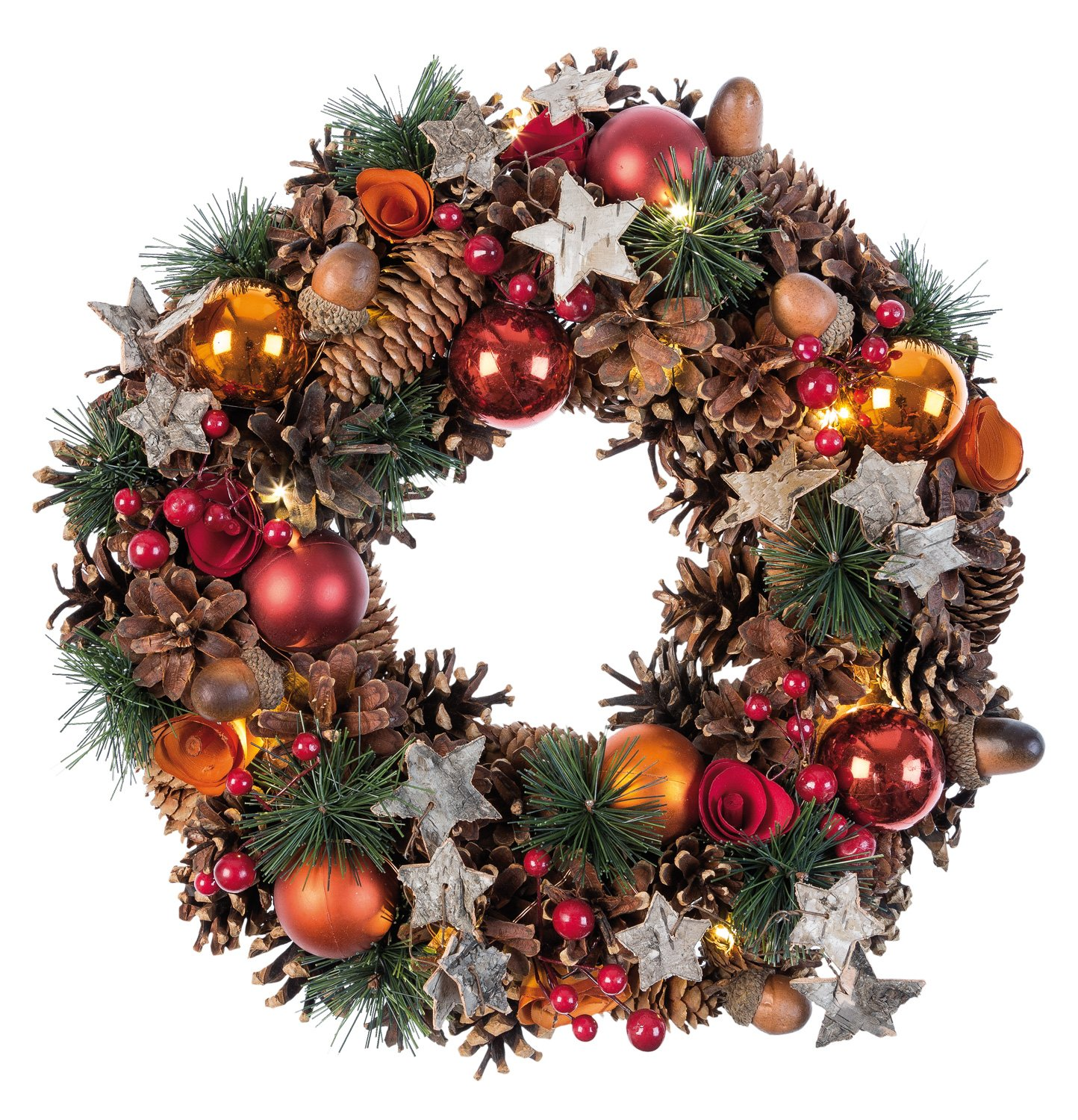 Idena 8585271 Christmas Wreath 28 cm with 10 LEDs Battery Operated Warm White