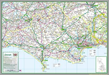 Map Of Uk Dorset.Dorset Uk County Map Paper Laminated 71 X 103 Cm