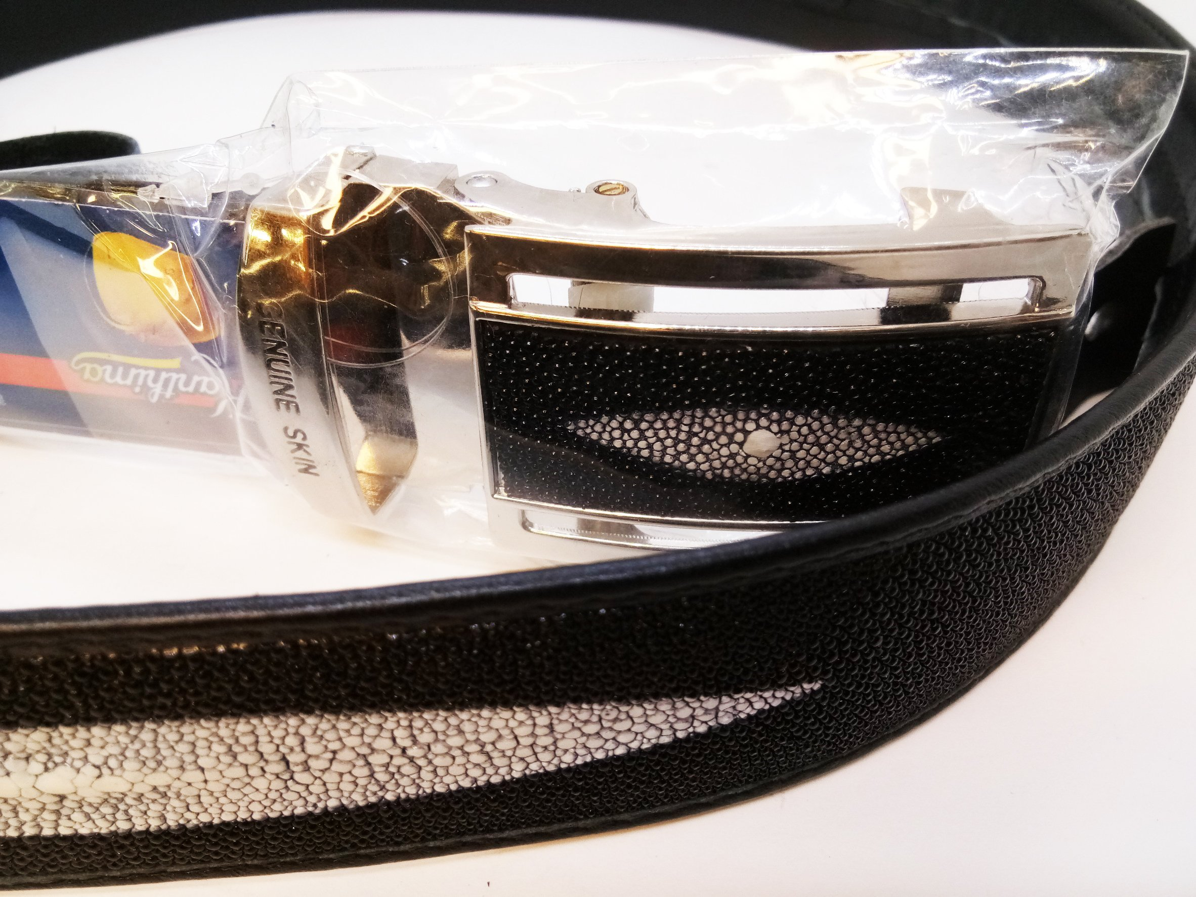 Belt Smart Lock Design C Real Stingray Shagreen Skin Leather Have Secret Channel