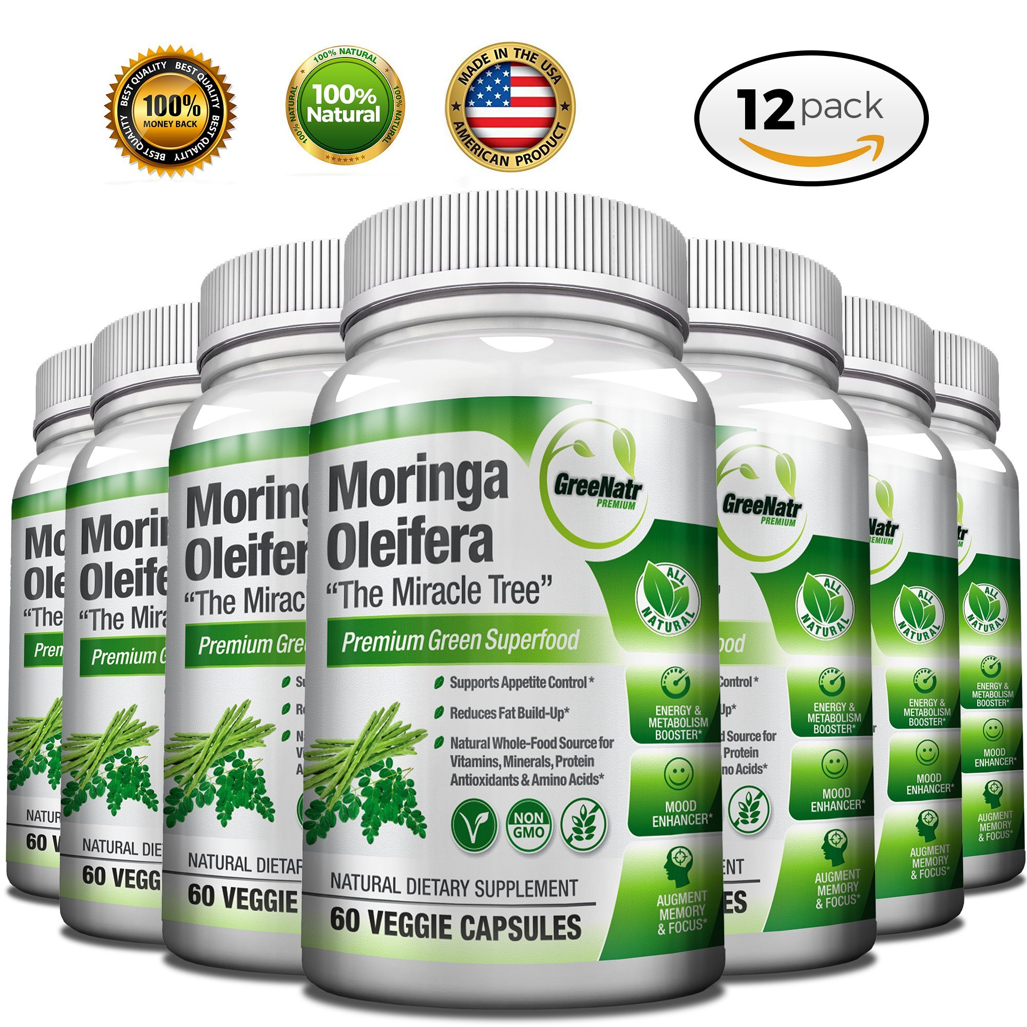 Pure Moringa Oleifera Leaf Extract Capsules * 100% NATURAL Premium Green Superfood * Natural Weight Loss Supplement + Energy & Metabolism Booster + Mood, Memory & Focus Enhancer (12 Pack)