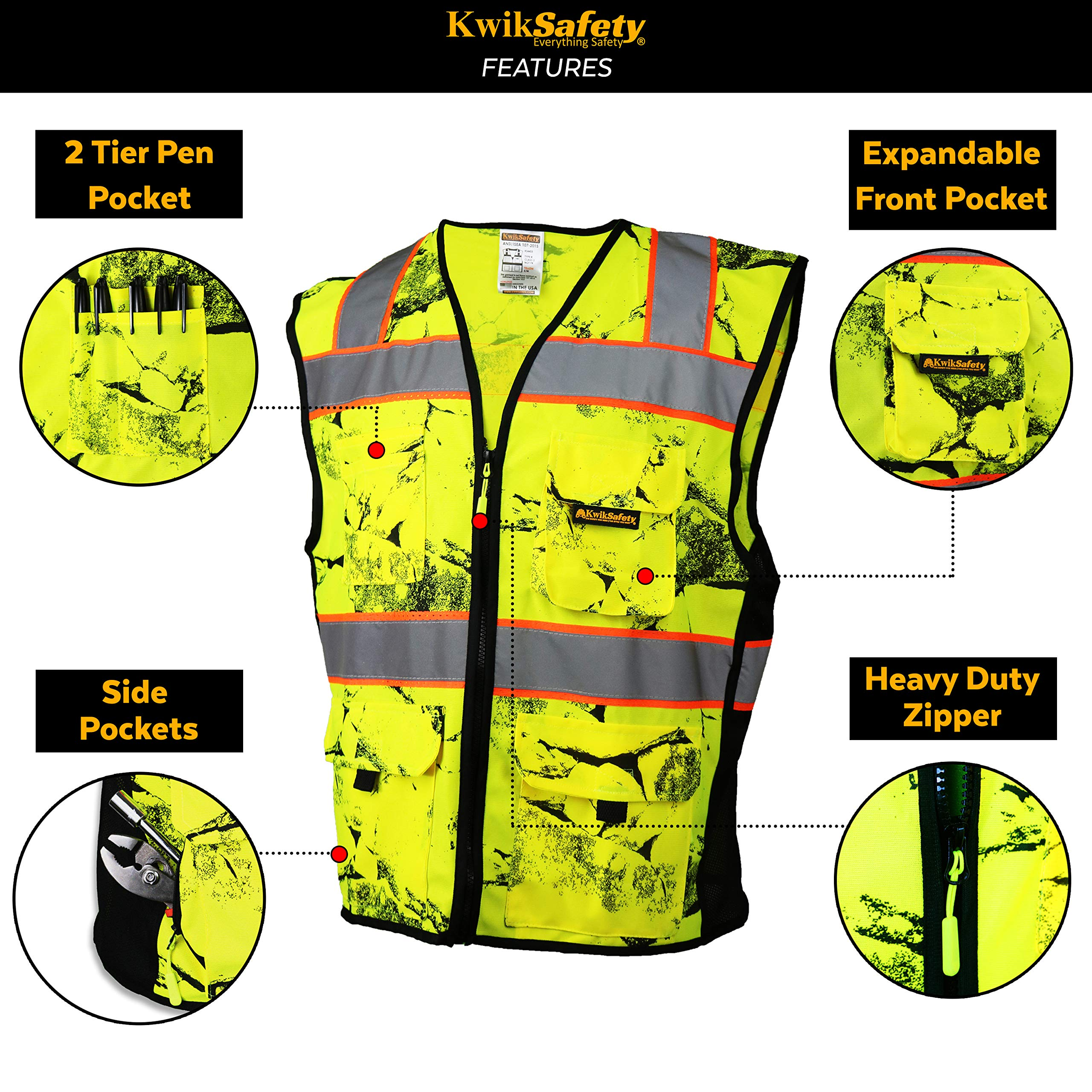 KwikSafety (Charlotte, NC) UNCLE WILLY'S WALL (10 Pockets) Class 2 ANSI High Visibility Reflective Safety Vest Heavy Duty Mesh with Zipper and HiVis for Construction Work HiViz Men Yellow Black L/XL by KwikSafety (Image #4)
