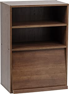 IRIS USA Open Wood Shelf with Pocket Door, Dark Brown CHR-1