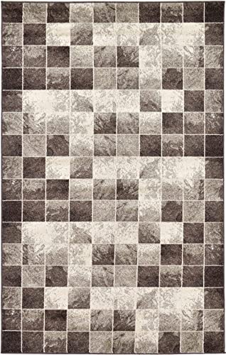 Unique Loom Wildlife Collection Checkered Geometric Warm Colors Light Brown Area Rug 5 0 x 8 0