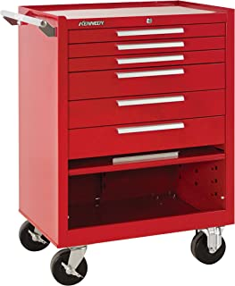 """product image for Kennedy Manufacturing 376Xr 27"""" 6-Drawer Industrial Tool Storage Roller Cabinet With Chest And Wheels, Industrial Red"""
