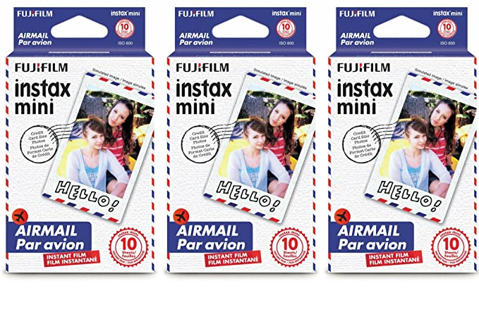 Fujifilm Instax Mini Instant Film 30 Count Value Kit For Fuji 7s, 8, 8+, 25, 50s, 90, 300, Instant Camera, Share Sp 1 Printer (3 Pack, Airmail) by Fujifilm