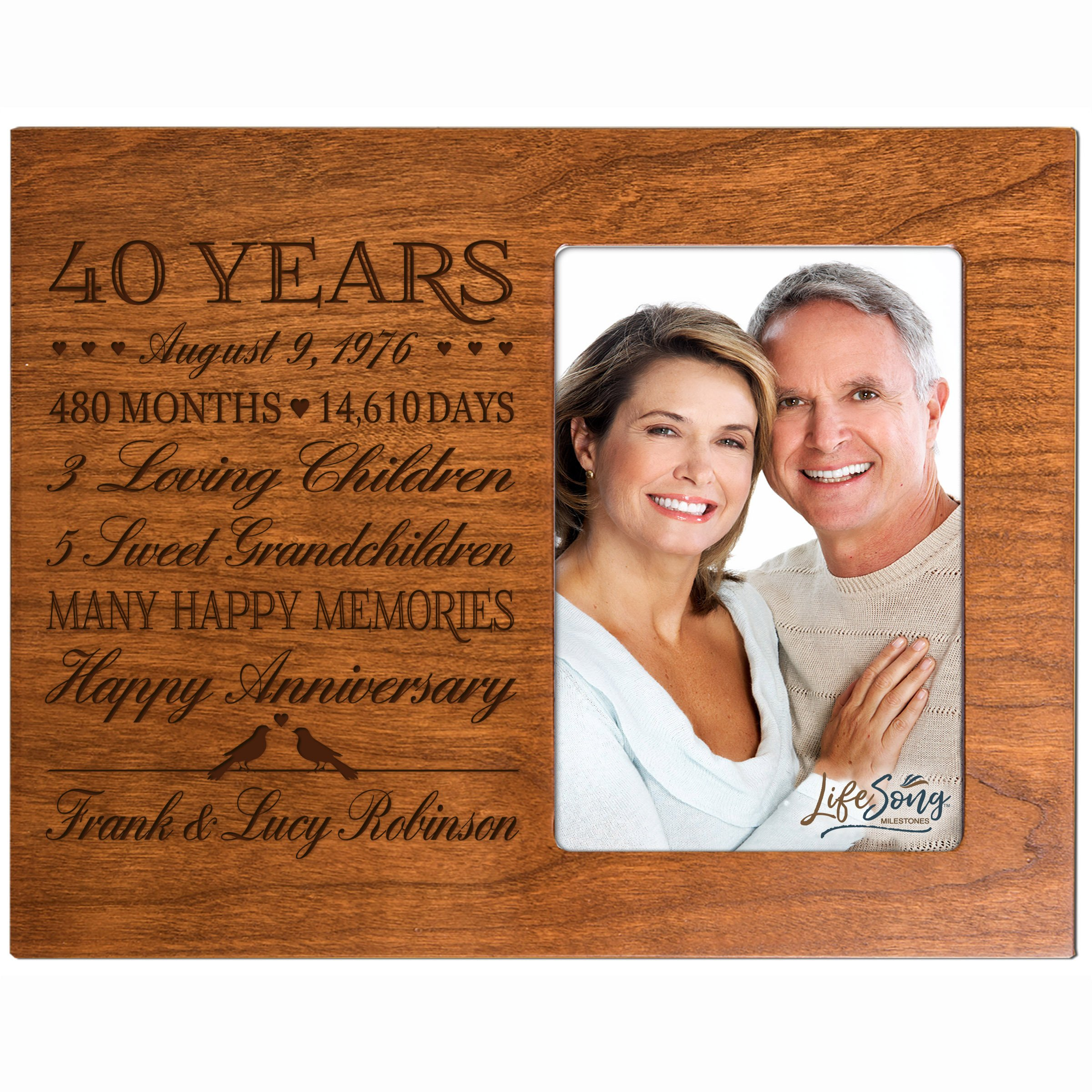 LifeSong Milestones Personalized Fortieth Year for her him Couple Custom Engraved Wedding Gift for Husband Wife Girlfriend Boyfriend Photo Frame Holds 4x6 Photo (Cherry)