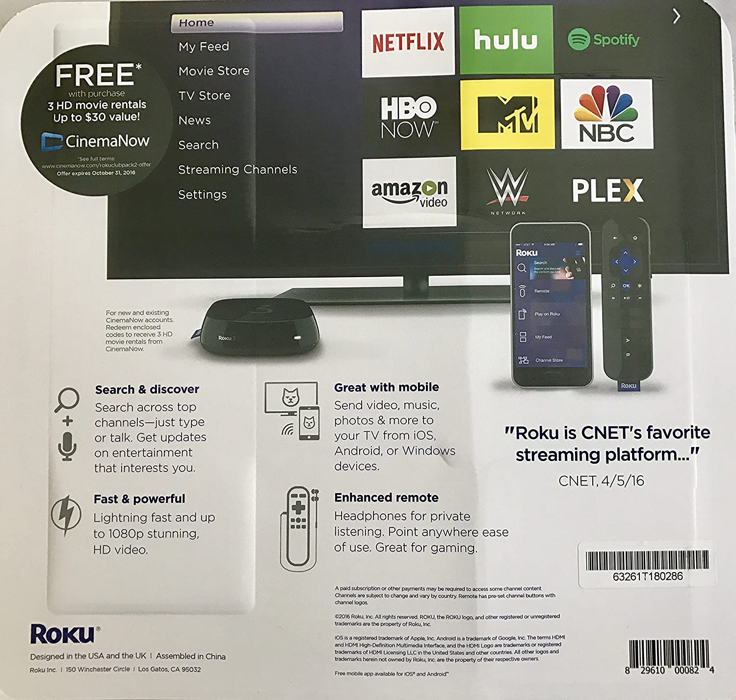 Roku 3 Streaming Media Player (4230R) With Voice Search (2015 model) Bundled with HDMI Cable and 3 HD Movie Rentals with CinemaNow