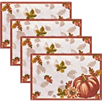 Elrene Home Fashions Swaying Leaves Bordered Fabric Placemats for Fall/Thanksgiving/Harvest, 13