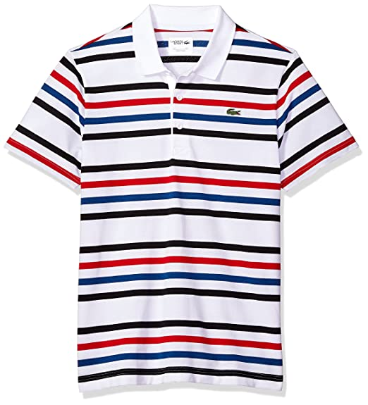 1d2c5769cf4839 Lacoste Men's Short Sleeve Super Light Framis Tapes Stripes Polo, YH3308,  White/Black