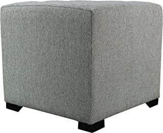 "product image for MJL Furniture Designs Upholstered Cubed/Square Olivia Series Ottoman, 17"" x 19"" x 19"", Smoke Grey"