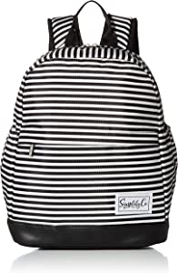 Insulated Mini Backpack Lunch Bag w/Padded Straps & Drink Side Pockets (12 Inches) (Black & White Stripes)