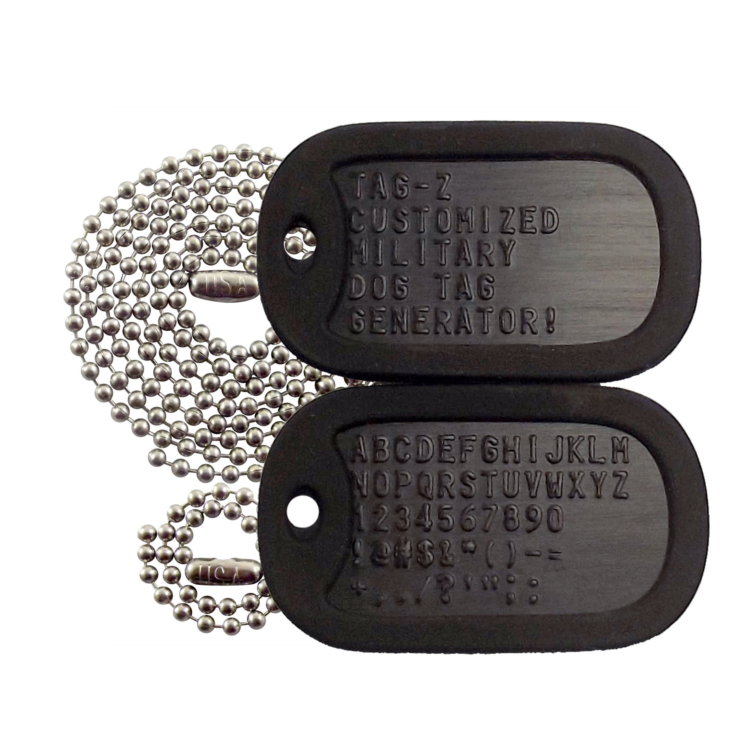 Personalized Military Dog Tags - 10 Tag Colors & 39 Silencers to choose from!
