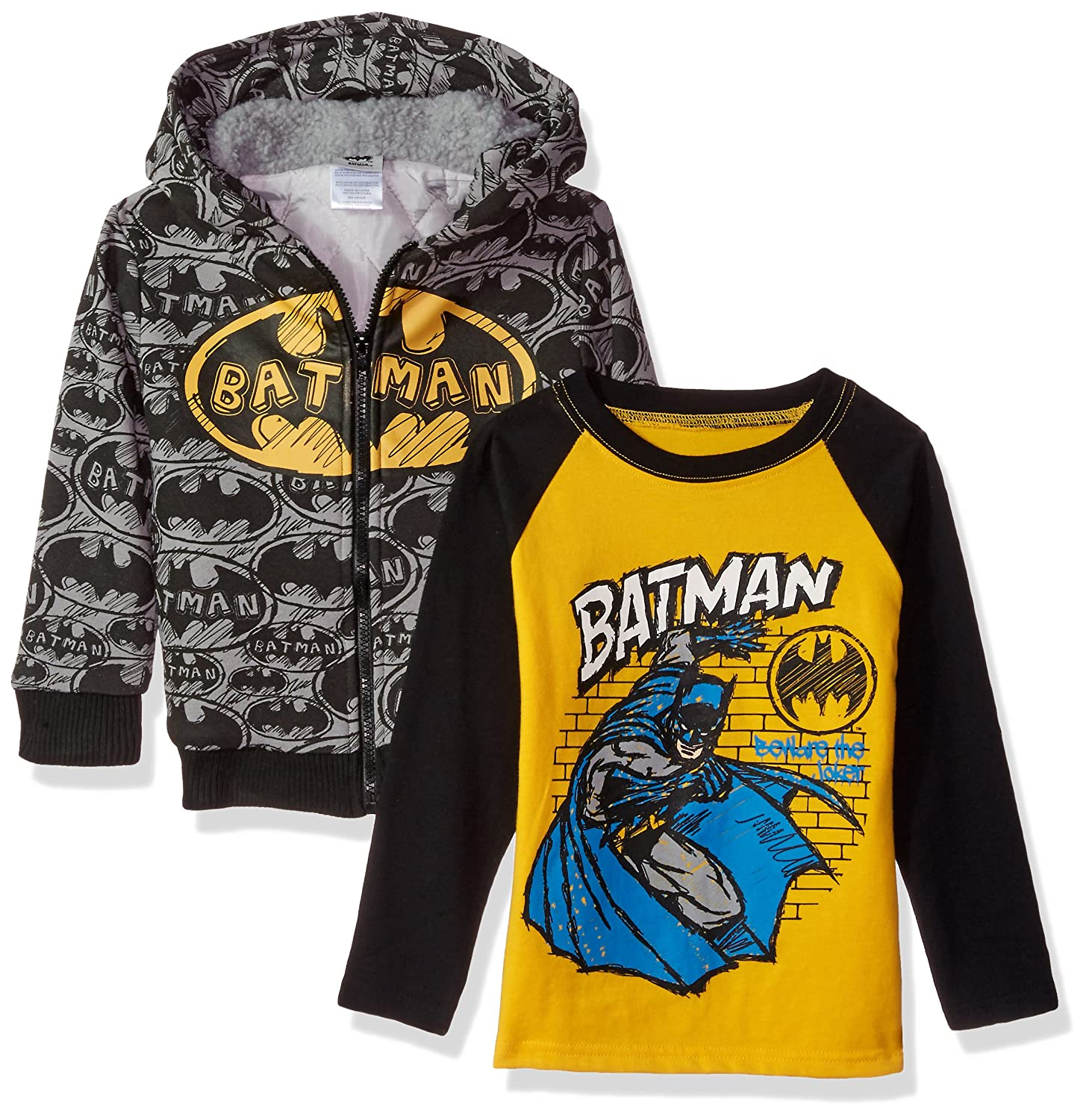 Warner Brothers Boys' 2 Piece Batman Sherpa Jacket Set with Tee Black 2t 7wb6503