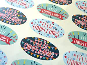 Pack of 30 Feliz Cumpleanos Spanish Espanol Birthday Greeting Stickers, Colorful Oval Self-Stick Labels for Cards, Envelopes, Craft, Decoration