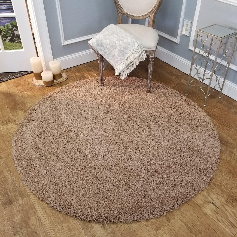 Maxy Home Bella Solid Beige 5 Ft Round Shag Area Rug Karpet Shaggy Premium 160x230 Turkiye Kitchen Dining