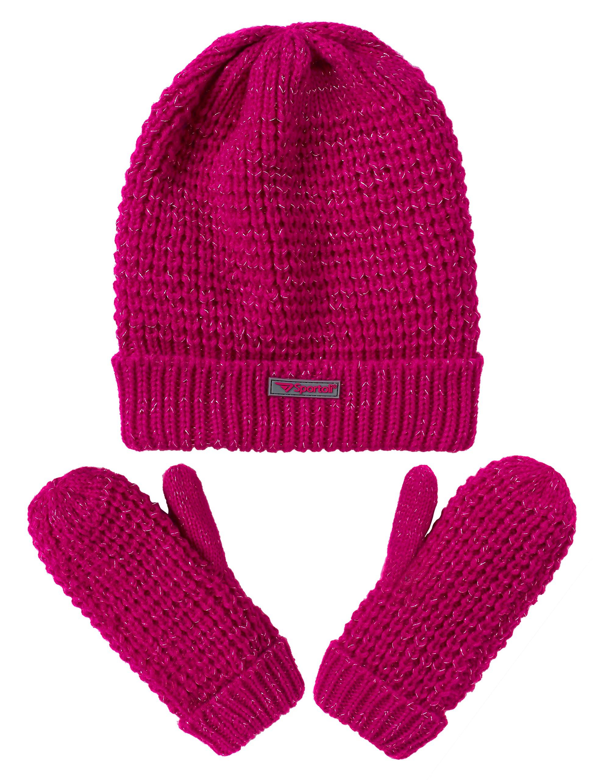 Sportoli Girls' Kids Knit Cold Weather Accessory Set Warm Hat, Scarf and Gloves (Pink)