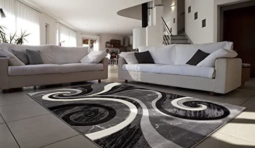 Contemporary Carved Modern Geometric with Swirl Design Area Rug Legacy Collection 5 x 7 , Black Grey