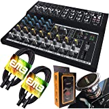 Mackie Mix12FX 12-channel Compact Mixer with Effects with Pair of EMB XLR Cable and Gravity Magnet Phone Holder Bundle