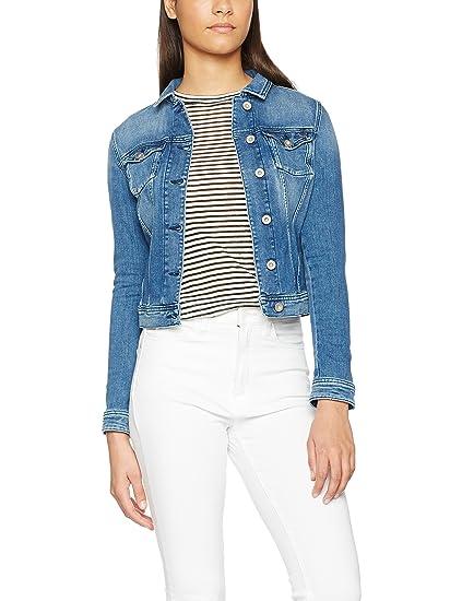 4d9fba3e3b5b0 Tommy Jeans Damen BASIC DENIM TRUCKER SLBST Langarm Jeansjacke Jacke Blau  (SLUBBY Stretch 911)