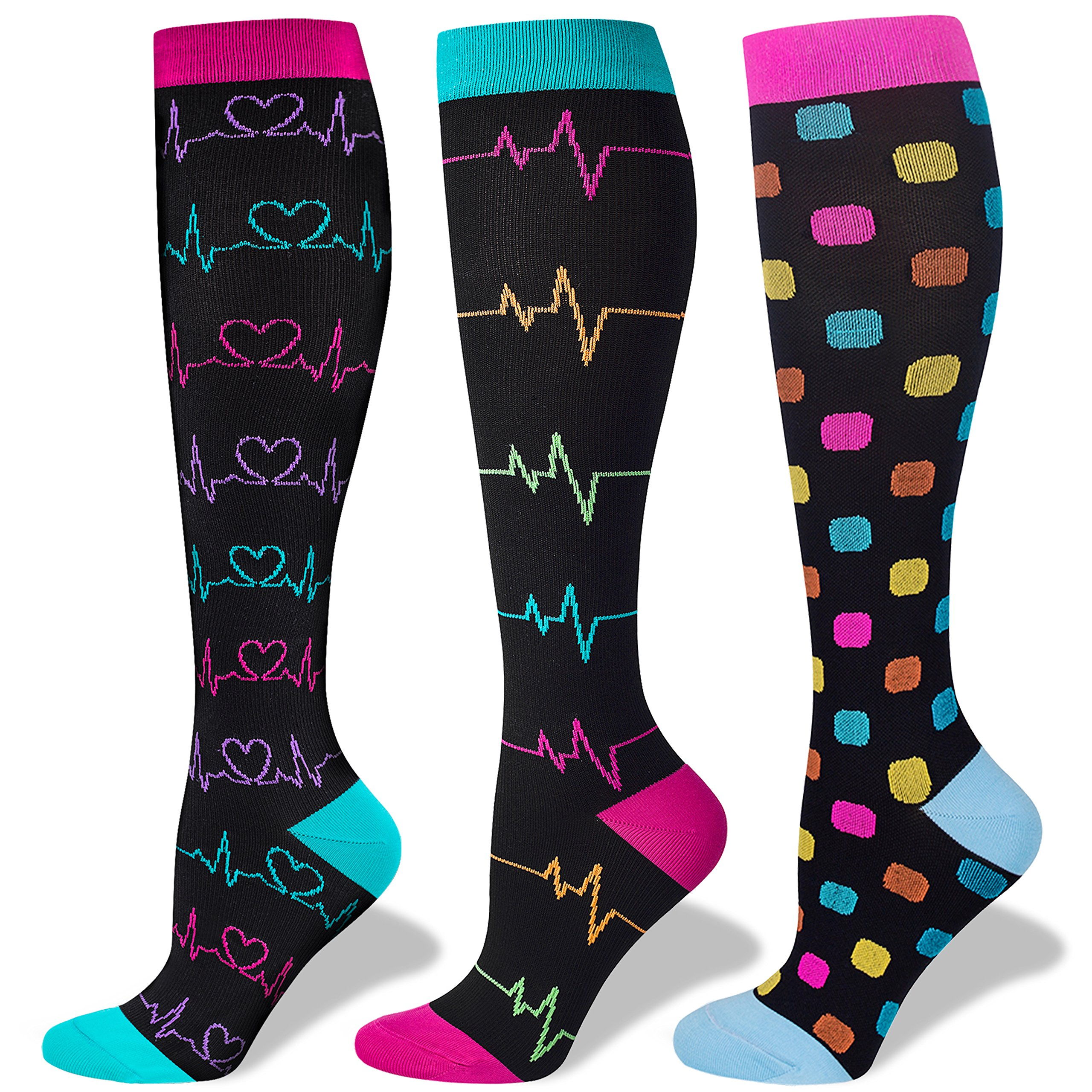 3 Pairs Compression Socks for Nurse(Women)|20-30mmHg Graduated Knee High Stocking |Anti Fatigue & Prevent Swelling in 12h Shift by LEVSOX (Image #1)