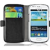 Housse Galaxy S3 Mini, Coque Galaxy S3 Mini | JAMMYLIZARD | Housse portefeuille Deluxe aspect cuir range cartes fermeture magnétique, Noir