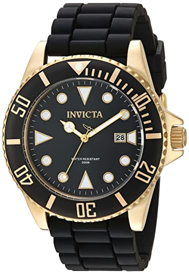 Invicta Mens Pro Diver Stainless Steel Quartz Watch with Silicone Strap, Black, 21 (Model: 90303)