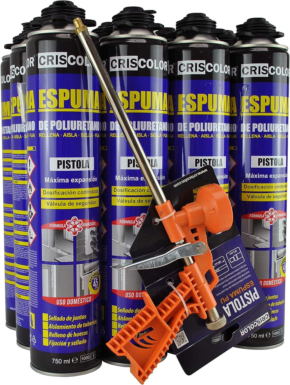 CRISCOLOR Pack Espuma Poliuretano 750ml. x 12 unidades + Pistola