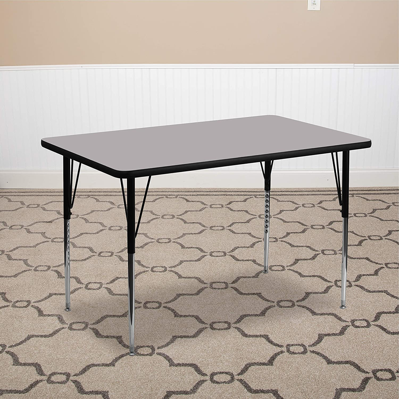Flash Furniture 24W x 60L Rectangular Grey HP Laminate Activity Table Standard Height Adjustable Legs