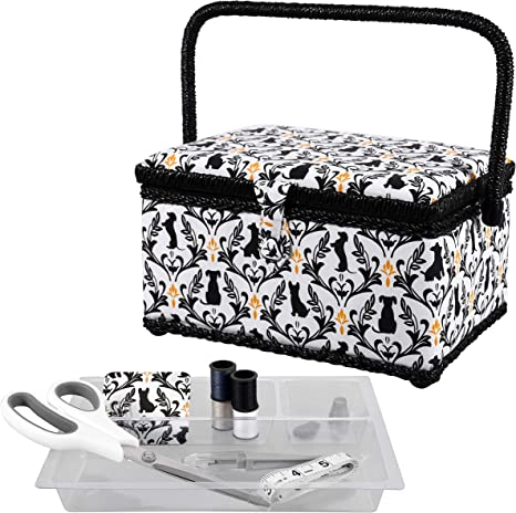 Scissors Thread SINGER 07229 Sewing Basket with Sewing Kit Pins Needles Boho Fan and Notions