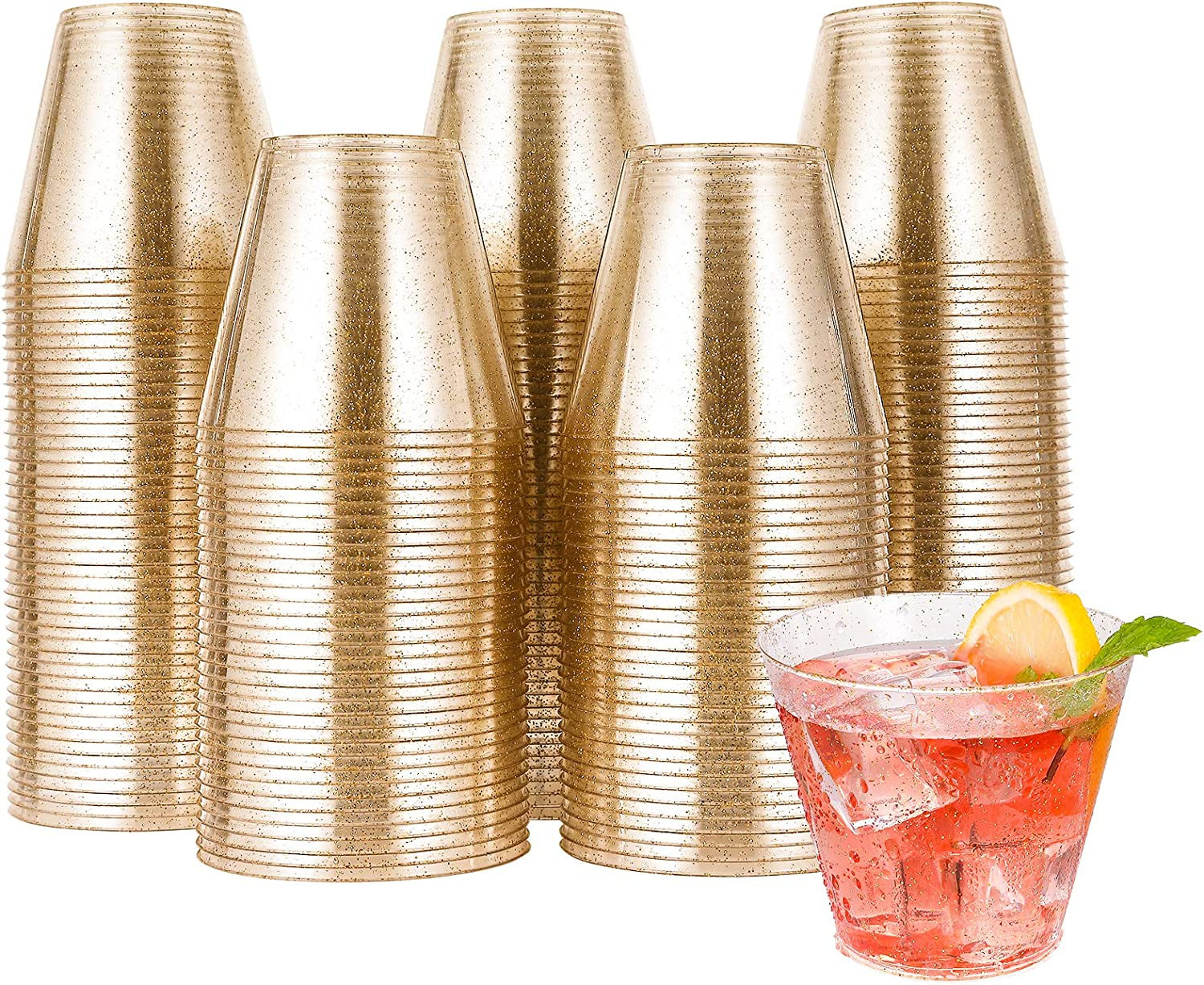 200pcs 9OZ Glitter Plastic Cups,Disposable Gold Cups,Clear Plastic Tumblers,Gold Glitter Cups,Disposable Cups for Wedding,Thanksgiving, Christmas Party