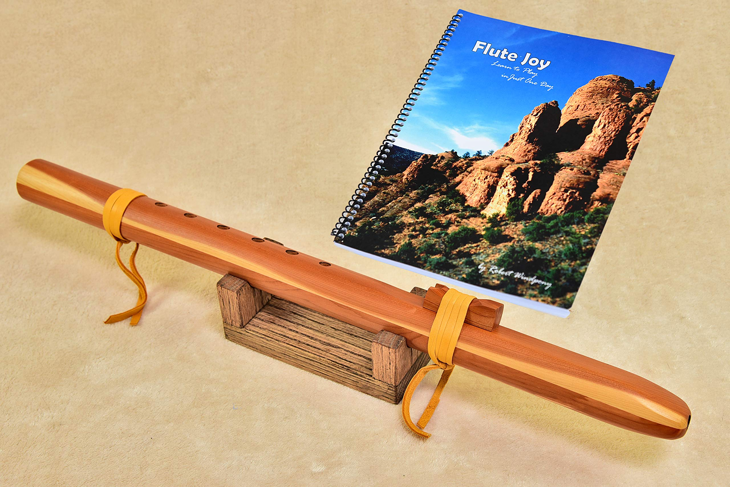 Windpony Cedar Flute in the Key of G with Rack + Instruction Book
