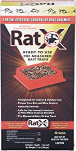 EcoClear Products 620105, RatX All-Natural Non-Toxic Humane Rat and Mouse Killer Pellets, Ready-To-Use Pre-Measured 3 oz. Bait Trays, 4-Pack