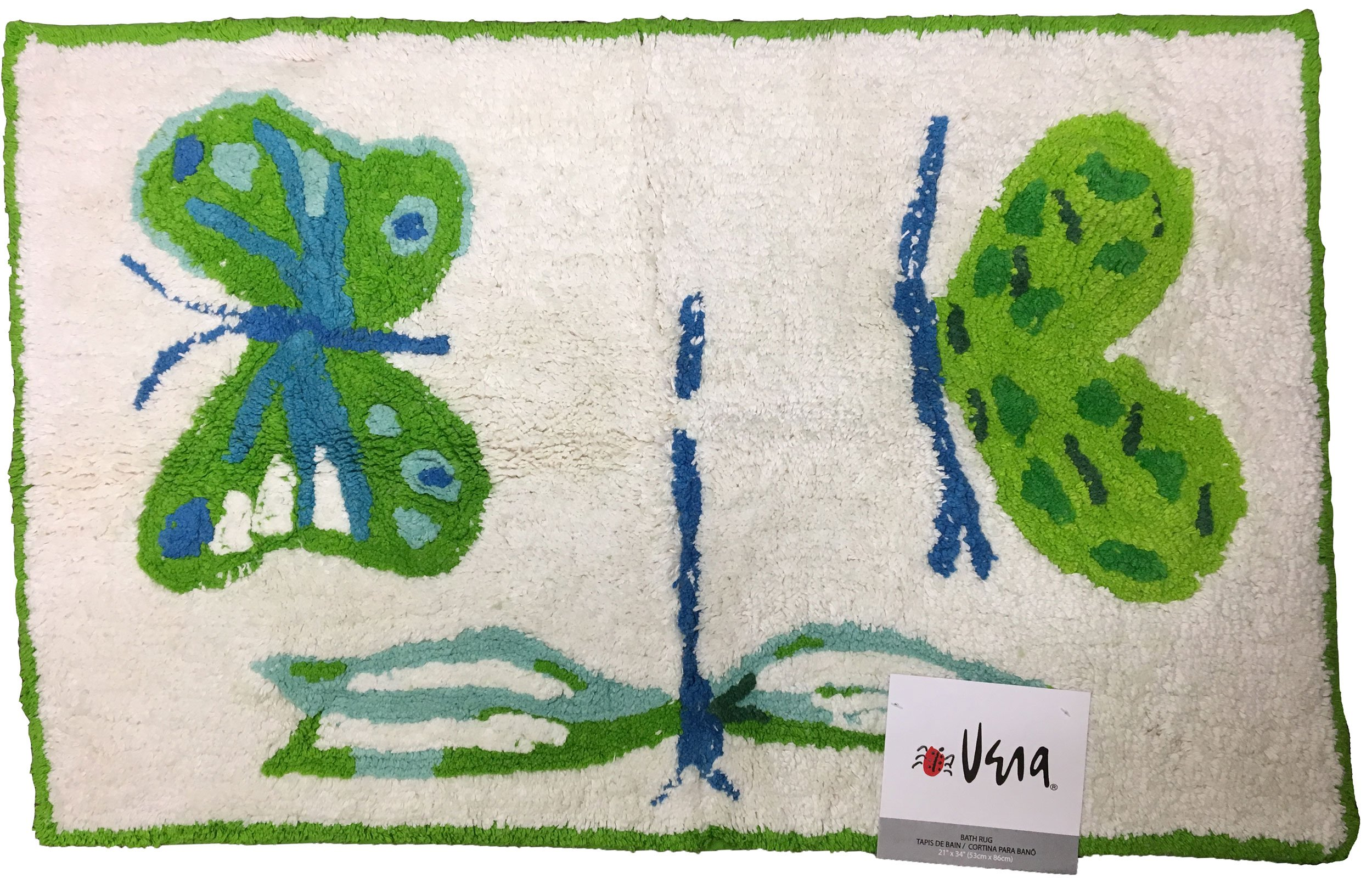 Tropic Butterfly Cotton Rug, 21-Inch by 34-Inch