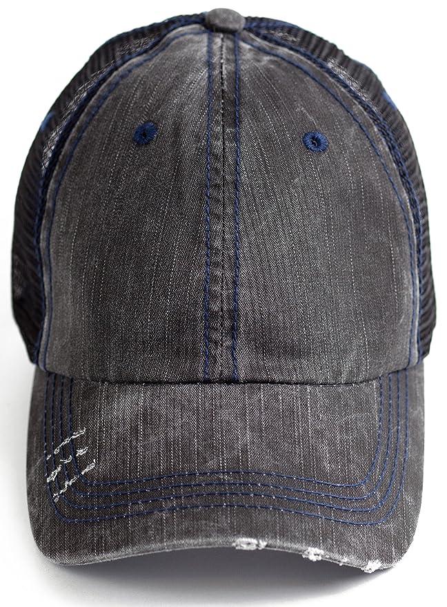 04c1db10d BOEKWEG The Original Ponytail Hat. Fashionable hats made for ponytails.  (Distressed Black/Mesh) at Amazon Women's Clothing store: