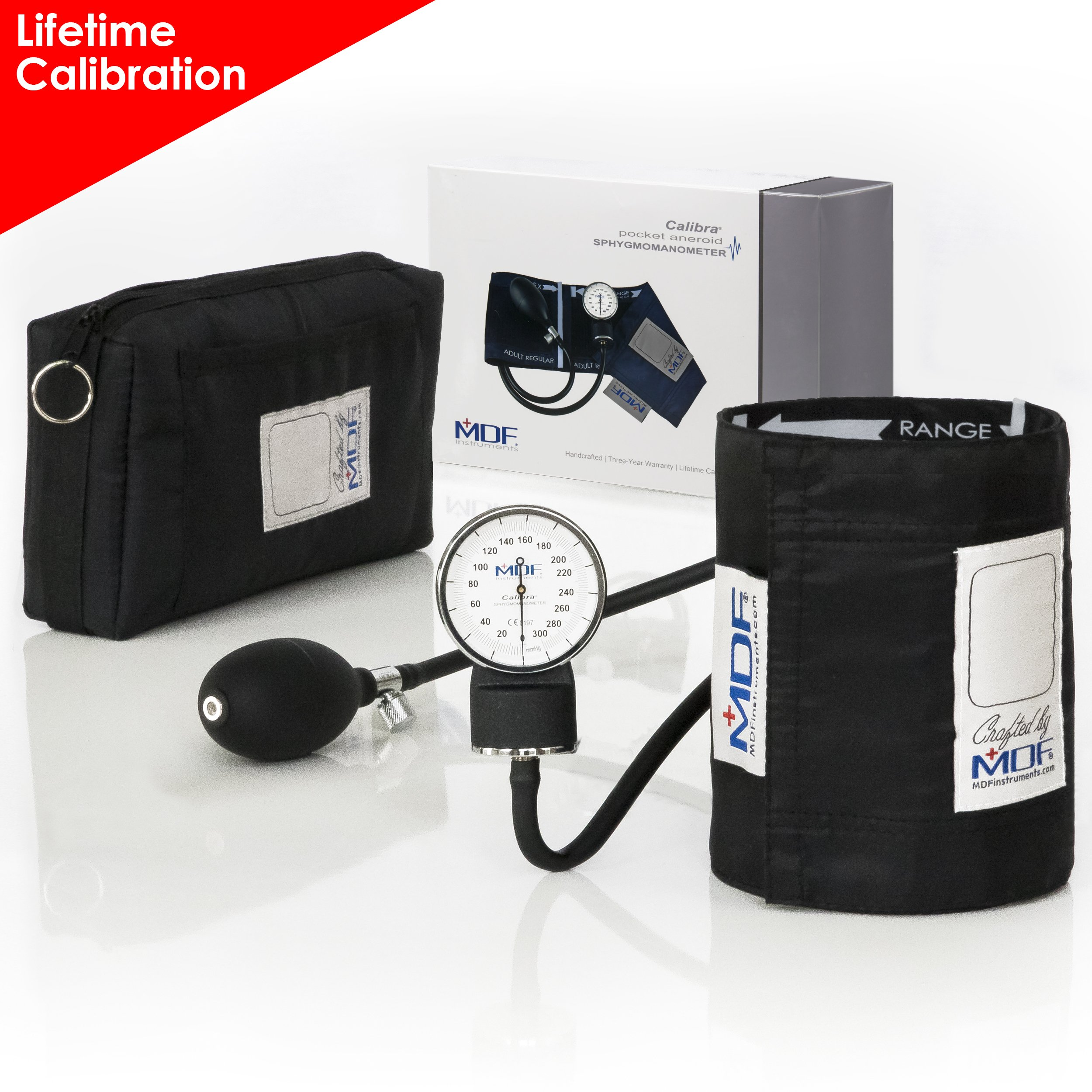 MDF® Calibra Aneroid Premium Professional Sphygmomanometer - Blood Pressure Monitor with Adult Blood Pressure Cuff & Carrying Case - Black - Full Lifetime Calibration & 3-Year Warranty (MDF808M-11)