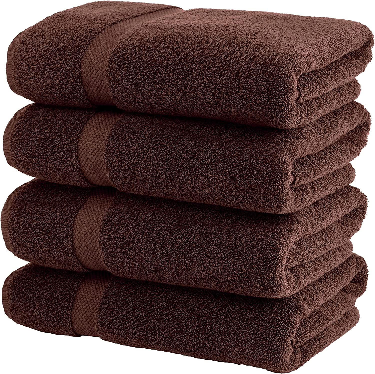 White Classic Luxury Bath Towels Large - Cotton Hotel spa Bathroom Towel   27x54   4 Pack   Brown