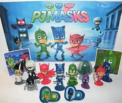 HappiToys PJ Masks Deluxe Figura Set de 14 juguetes Kit con ...