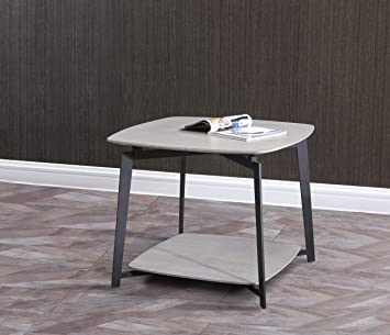 Amazon Com Whiteline Modern Living Mavis Side End Table In Gray Oak Veneer Top And Shelve With Black Matte Legs Medium One Size Furniture Decor
