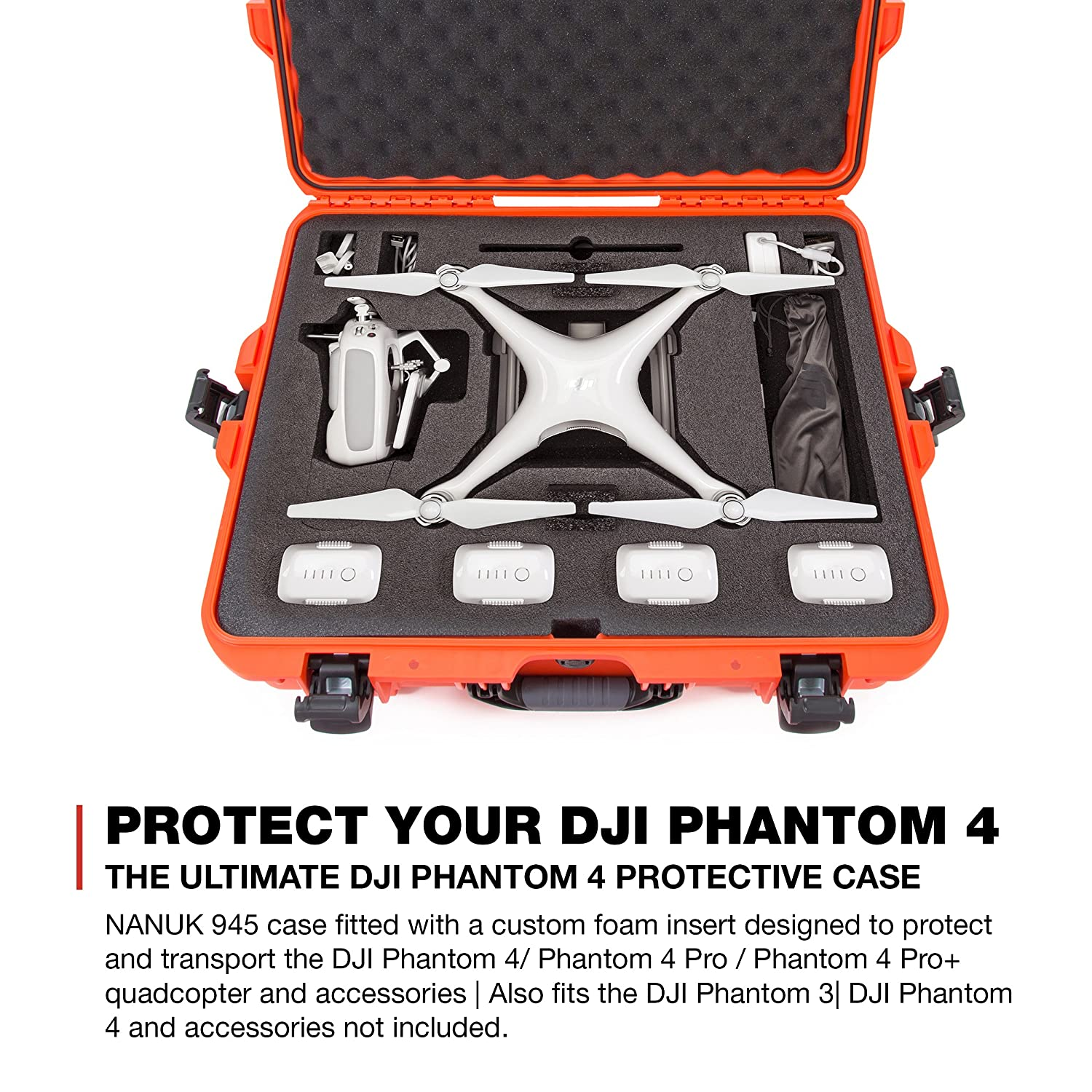 Nanuk DJI Drone Waterproof Hard Case with Custom Foam Insert for DJI  Phantom 4/ Phantom 4 Pro (Pro+) / Advanced (Advanced+) & Phantom 3 -  945-DJI43