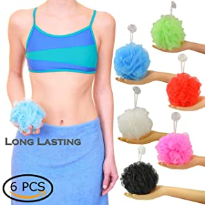 Star Brand Long Lasting Bath Sponge 6 Counts | 60g Heavy Bath Mesh Pouf with Suction Cup | Big Shower Sponge and Loofahs | Holding Up Bathing Exfoliator and Body Scrubber (60g x 6 Pieces, 6 Colors)