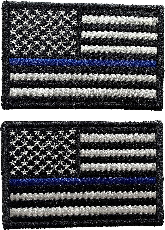 Paquete de 2 parches tácticos de bandera de Estados Unidos de UuKen de 3 x 2 pulgadas – banda de brazo bordada bandera estadounidense Estados Unidos de América uniforme militar emblema parches