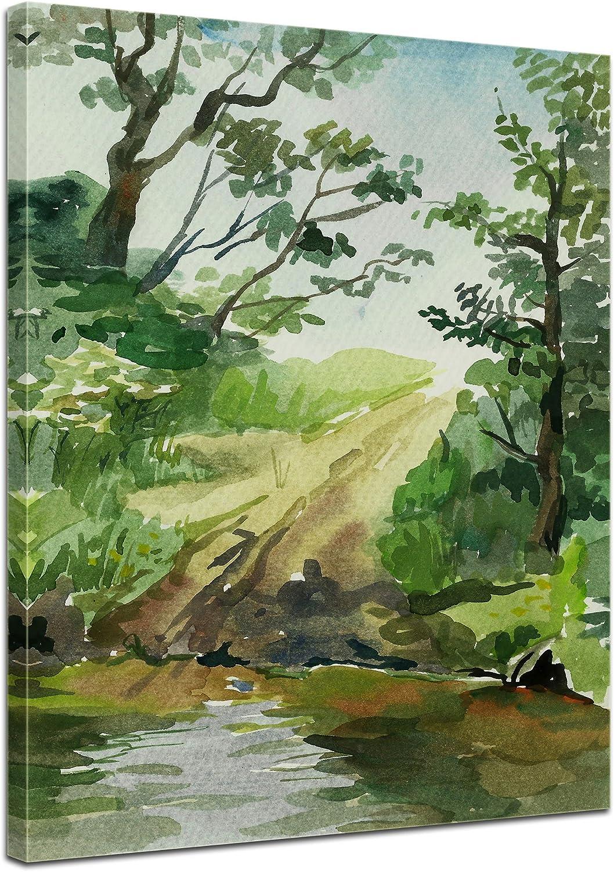 Bilderdepot24 Cuadros en Lienzo Lámina Reproducción Acuarela Paisaje 50 x 60 cm - Listo tensa, Directamente Desde el Fabricante: Amazon.es: Hogar