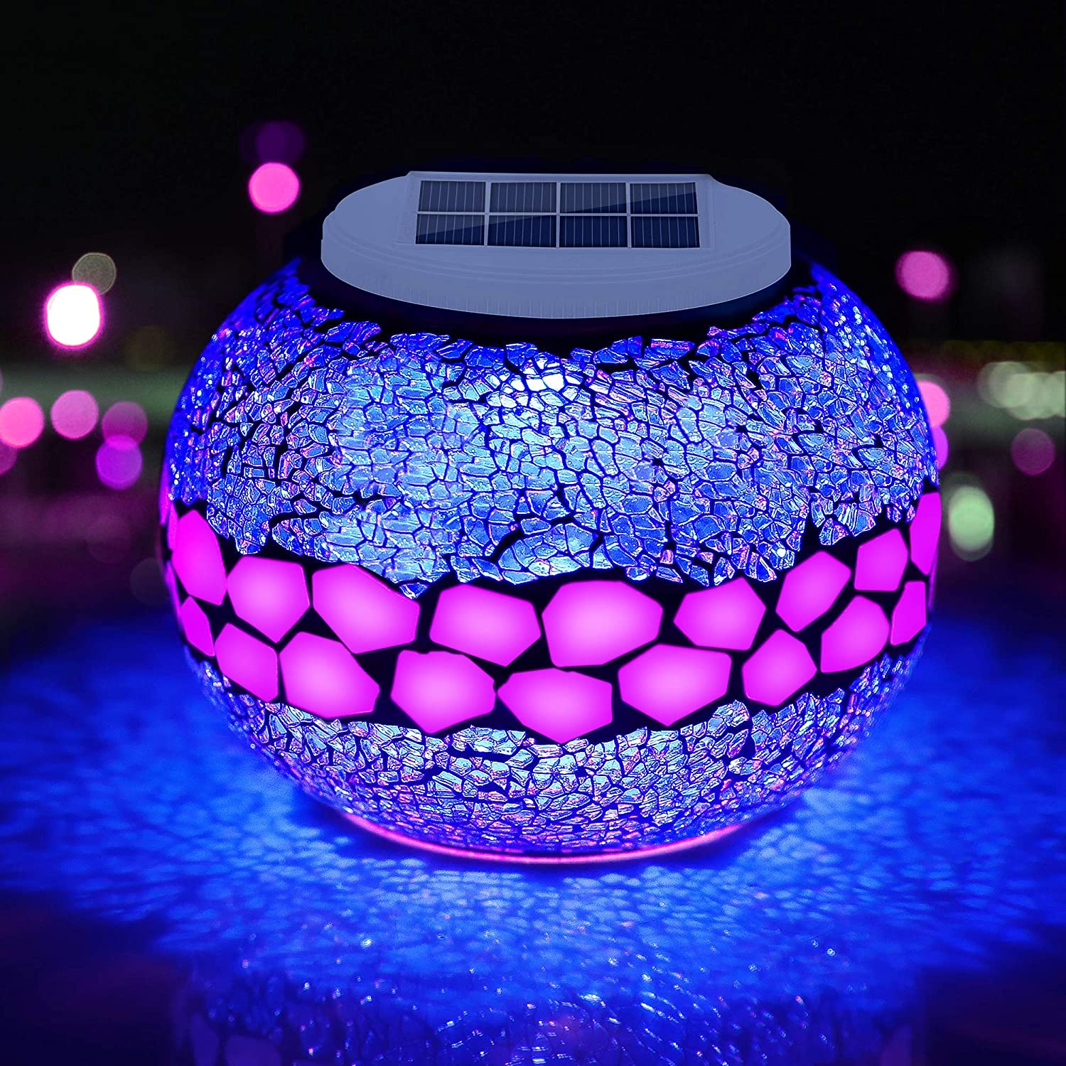 Pandawill Mosaic Solar Glass Garden Decoration Light, Rechargeable Color-Changing Solar Table Lamp, Waterproof LED Night Light for Garden, Party, Bedroom, Patio, Indoor/Outdoor Decoration