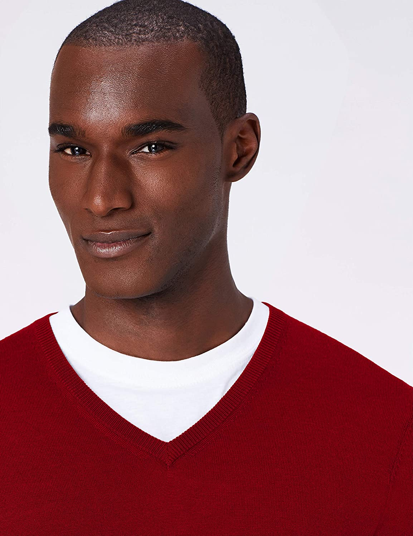 MERAKI Mens Fine Merino Wool V-Neck Jumper Brand