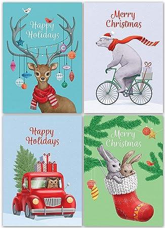 Weihnachtskarten Tiere.Weihnachtskarten Multipack 24 Weihnachtskarten Mit Roten